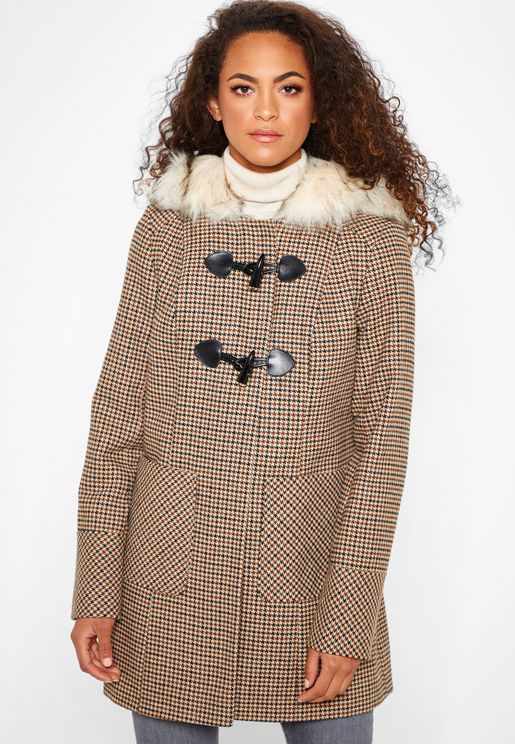 Faux Fur Collar Checked Coat