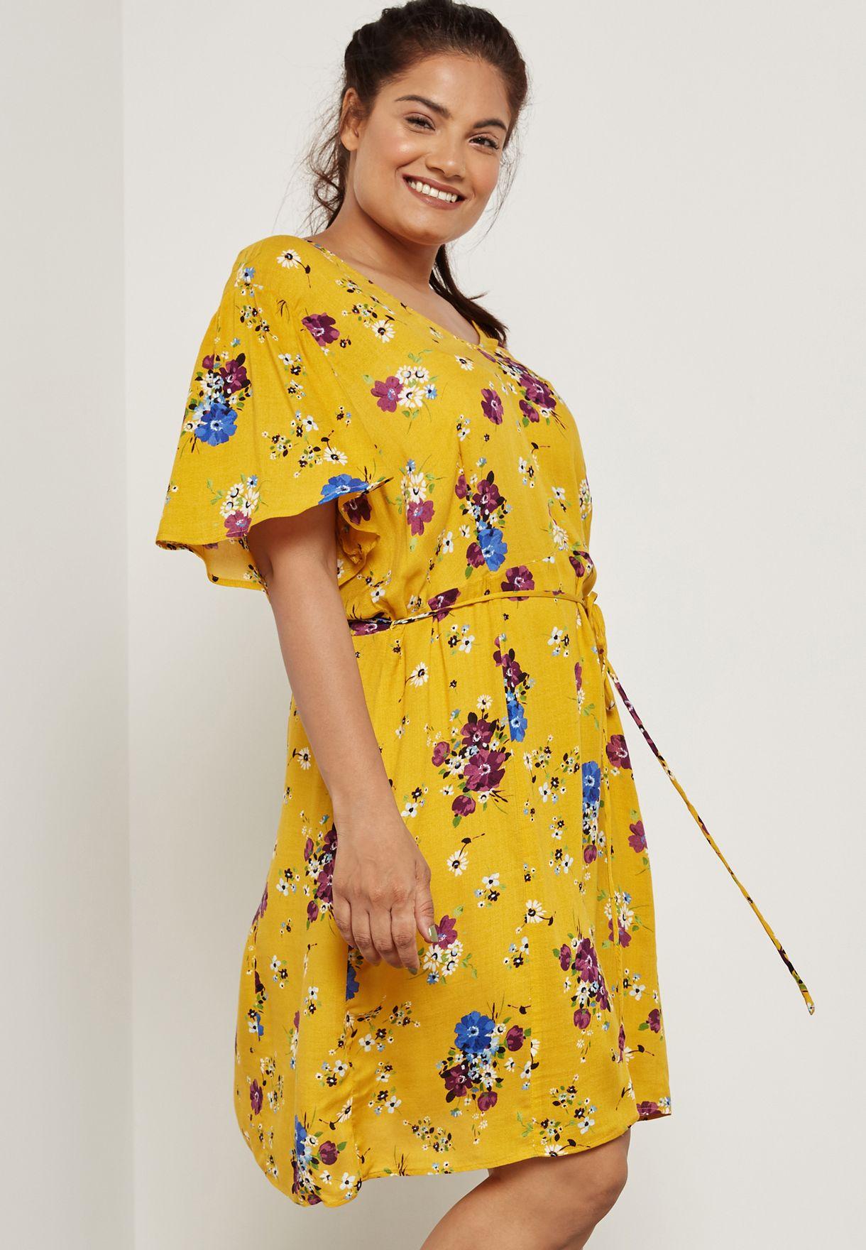 4d537b247d49 Shop Violeta by MANGO yellow Floral Print Dress 11080734 for Women ...