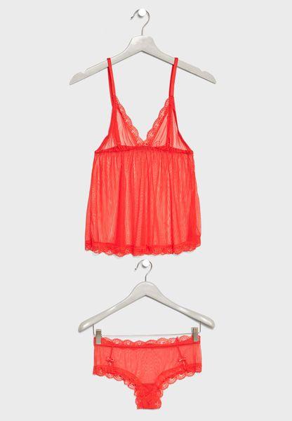 Lace Detail Pyjama Shorts Set