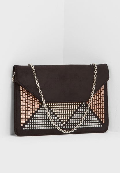 Triangle Embellished Clutch
