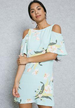 Floral Cold Shoulder Printed Dress