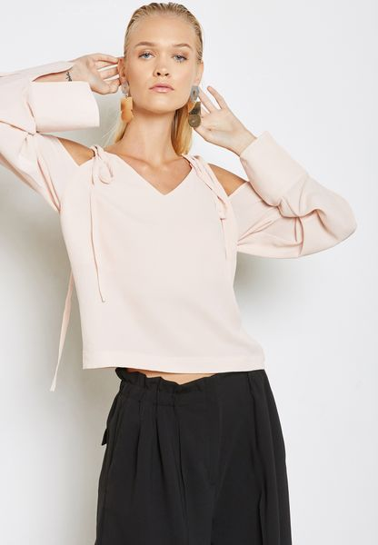 Oversized Sleeve Cold Shoulder Blouse