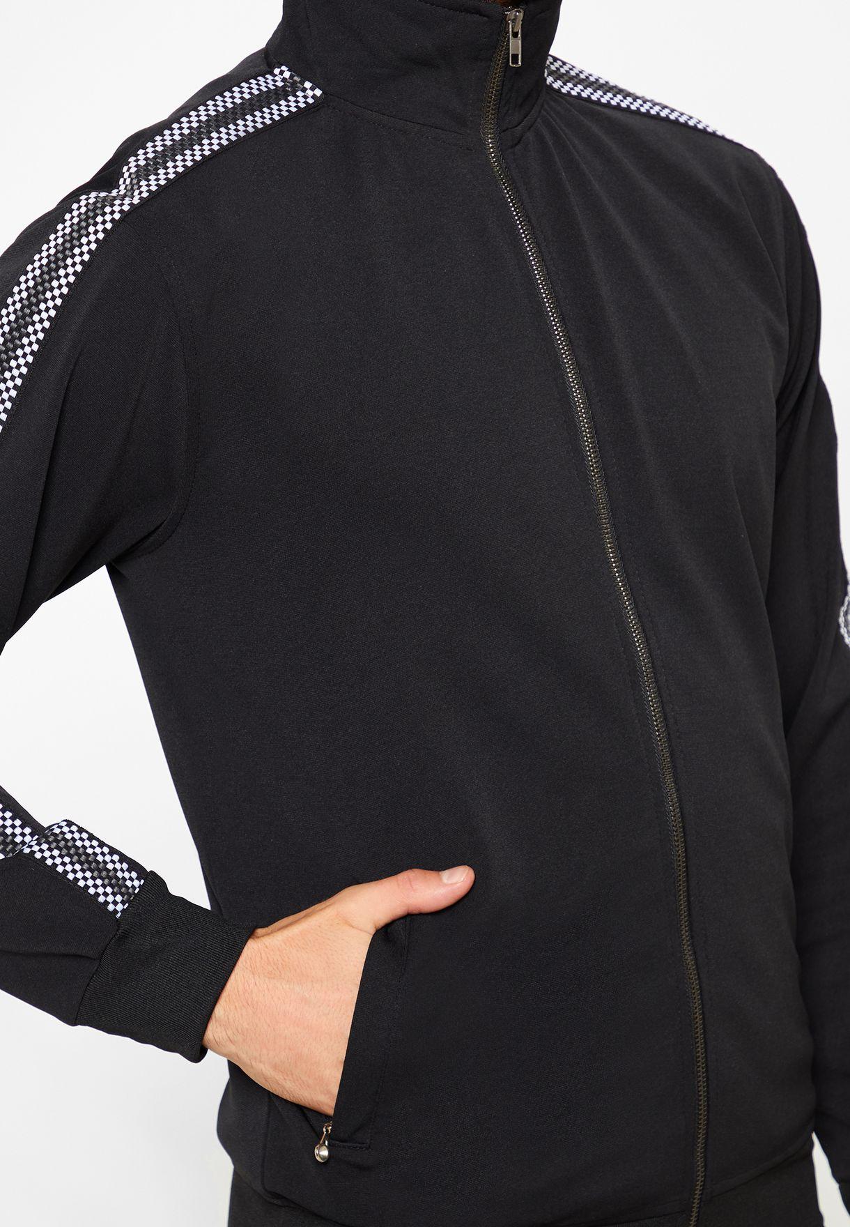 Check Tape Sleeve Zip Through Sweatshirt