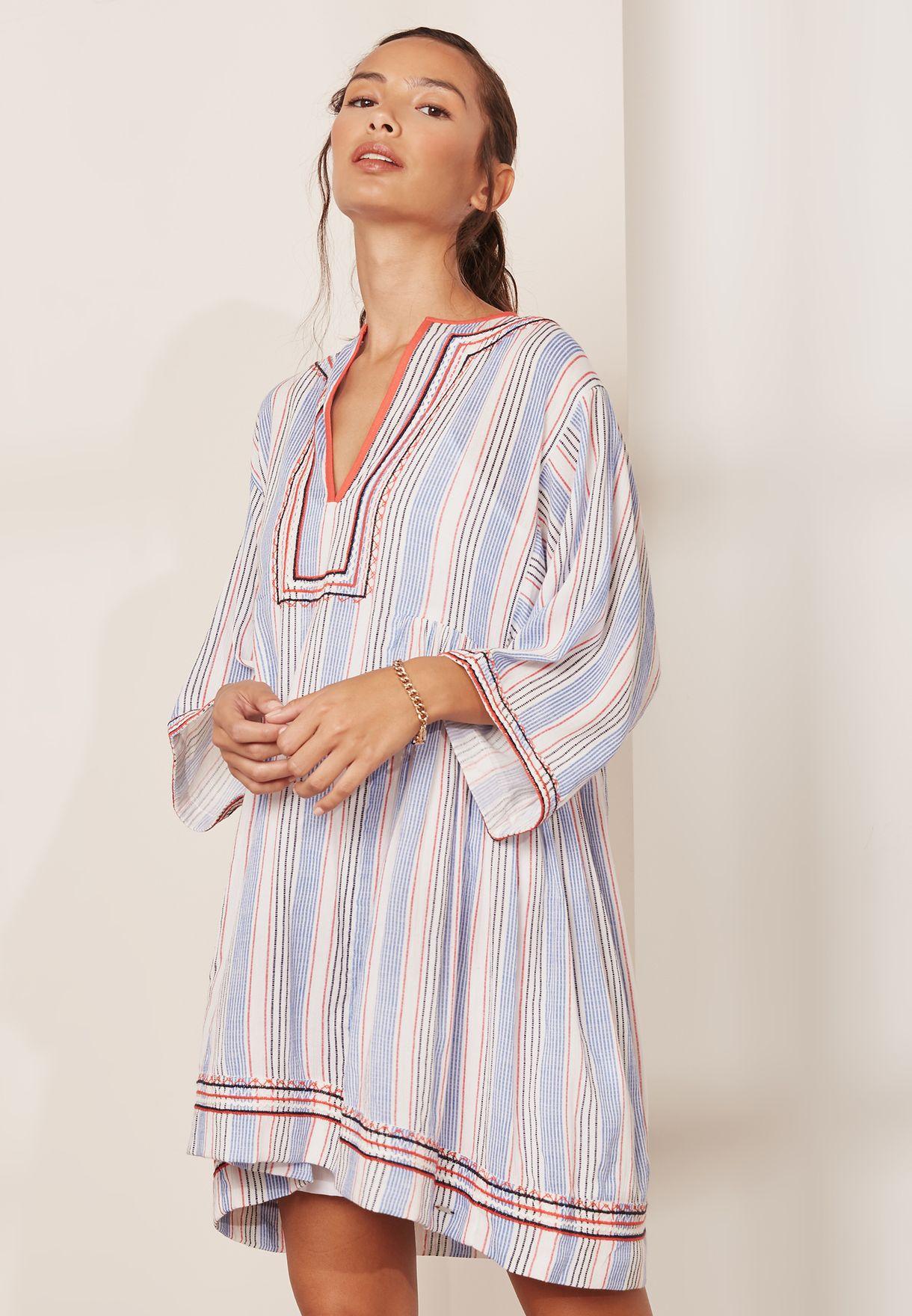 3d06a641d7 Shop Tommy Jeans multicolor Tjw Summer Striped Kaftan Dress ...