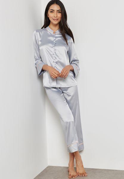 Contrast Piping Pyjama Set