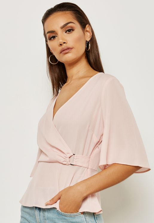 Short Sleeve D- Ring Plunge Wrap Top