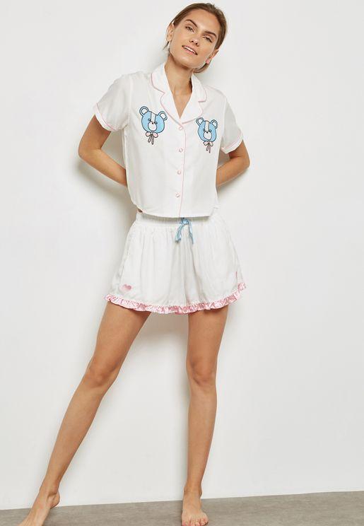 Piping Shorts Pyjamas Set