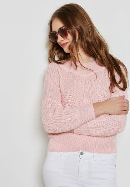 Volume Sleeve Bardot Sweater