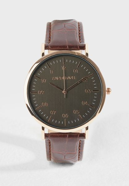 Rose Gold Croc Embossed Formal Watch