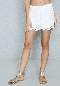 Laser Cut Scallop Broderie Shorts