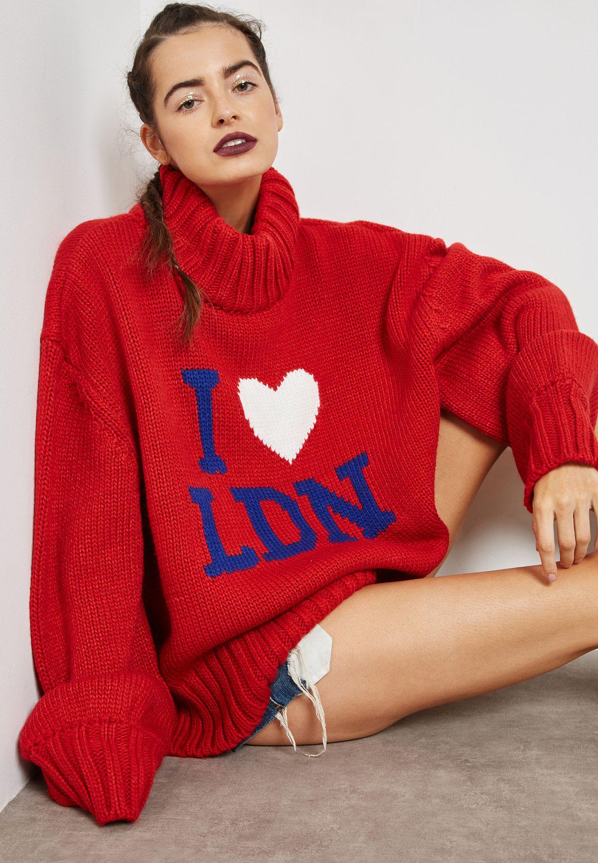 Oversized Turtle Neck Slogan Sweater