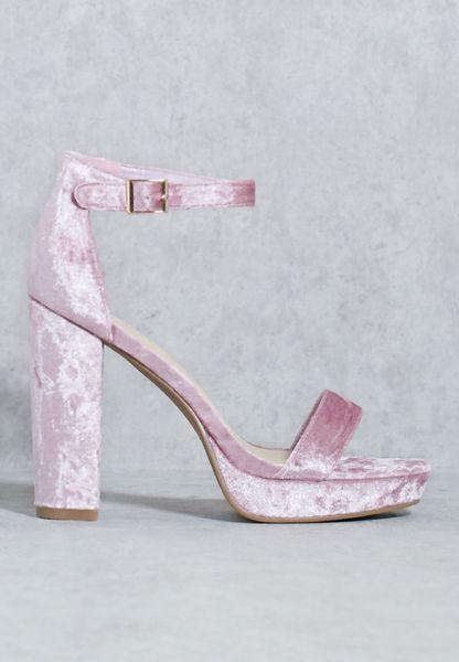 Velvet Ankle Strap Sandal