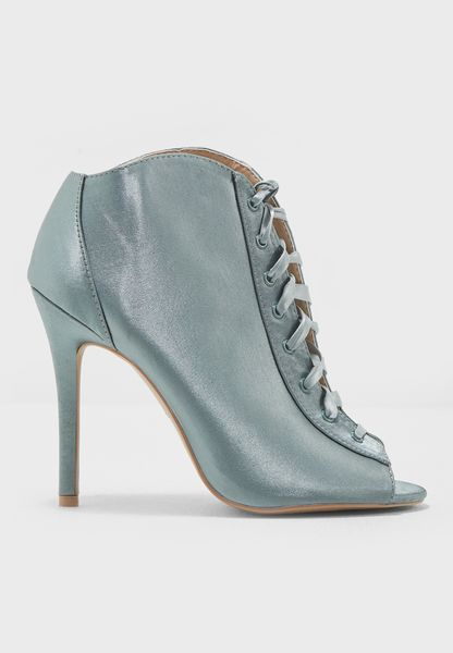 Satin Ankle Boot Lace Up
