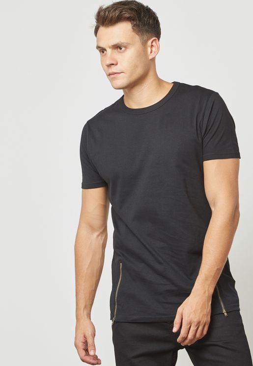 Falcong Zip Detailed T-Shirt