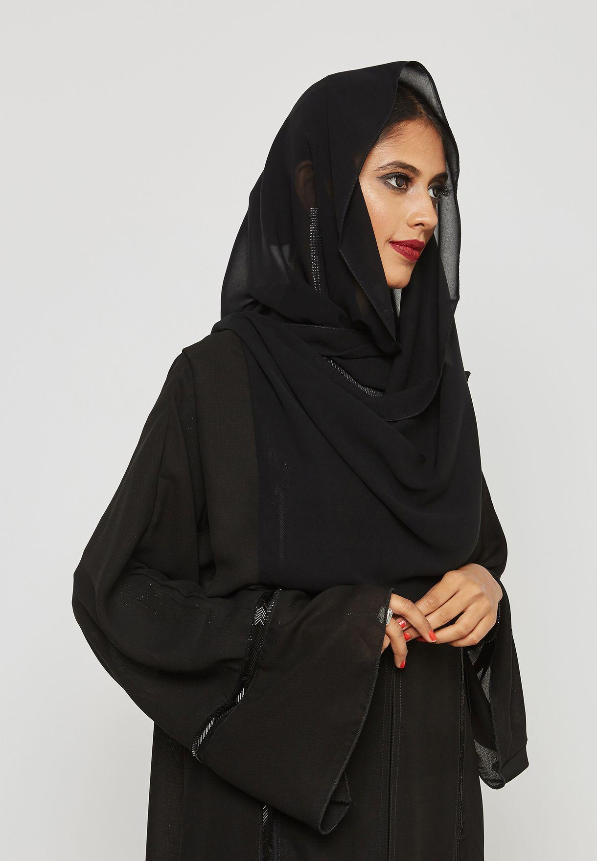 Beaded Flute Sleeves Abaya