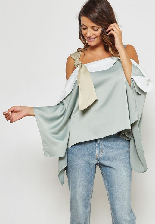Colourblock Tie Cold Shoulder Swing Top
