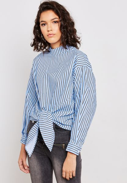 Striped High Neck Tie Front Top