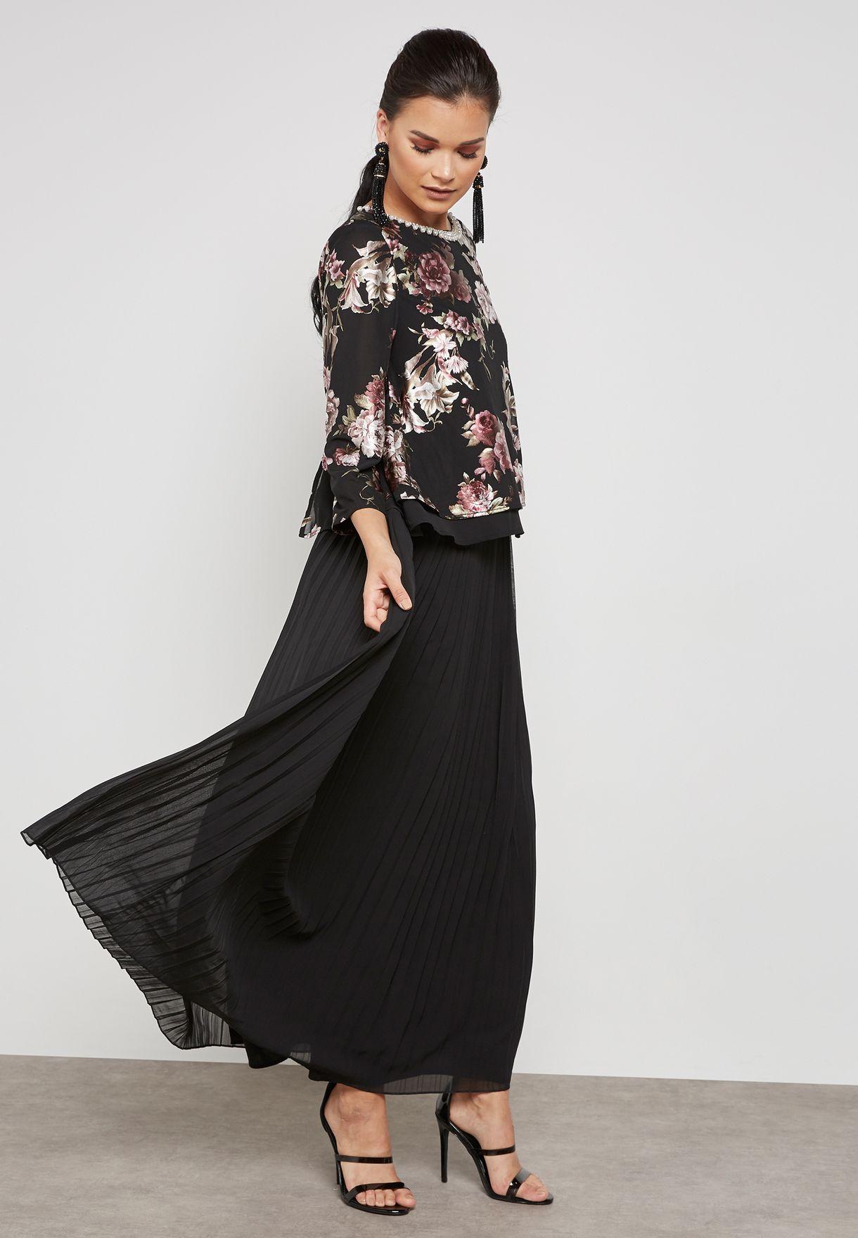 eef74d473 Shop Anotah black Floral Print Pleated Skirt Dress 18HSDRE-L301243 ...