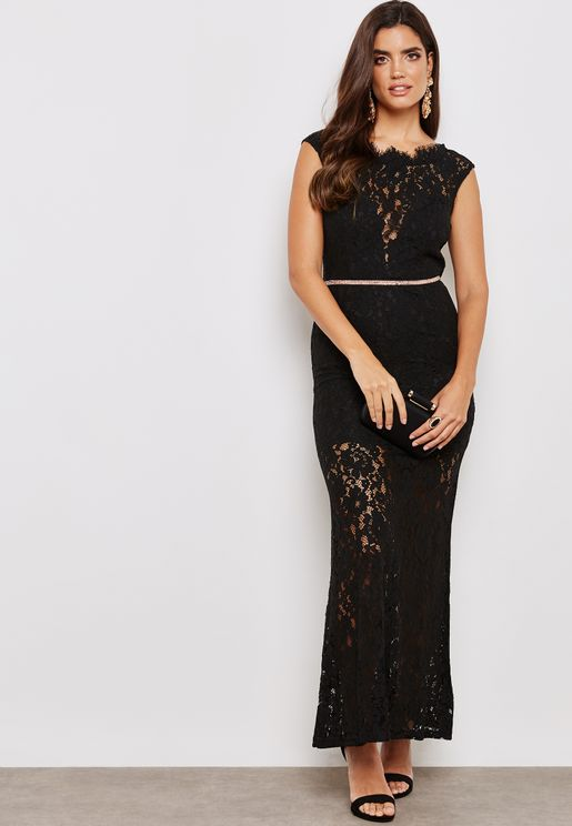 Lace Illusion Open Back Dress