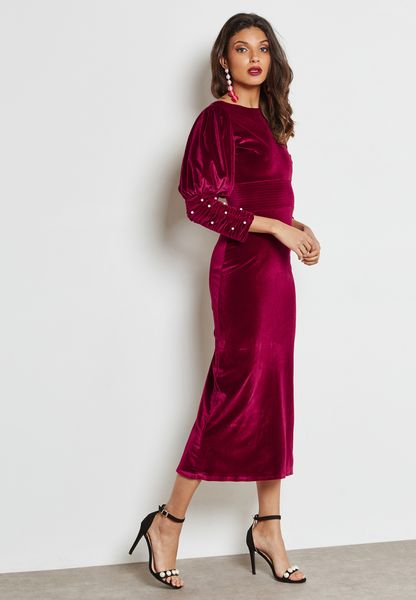Pearl Puffed Sleeve Velvet Dress