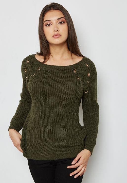 Eyelet Detail Ribbed Sweater