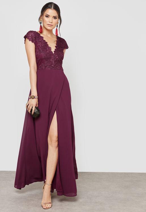 Front Split Lace Maxi Dress