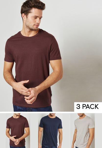 3 Pack Burgundy/Navy/Grey Crew Neck T-Shirt