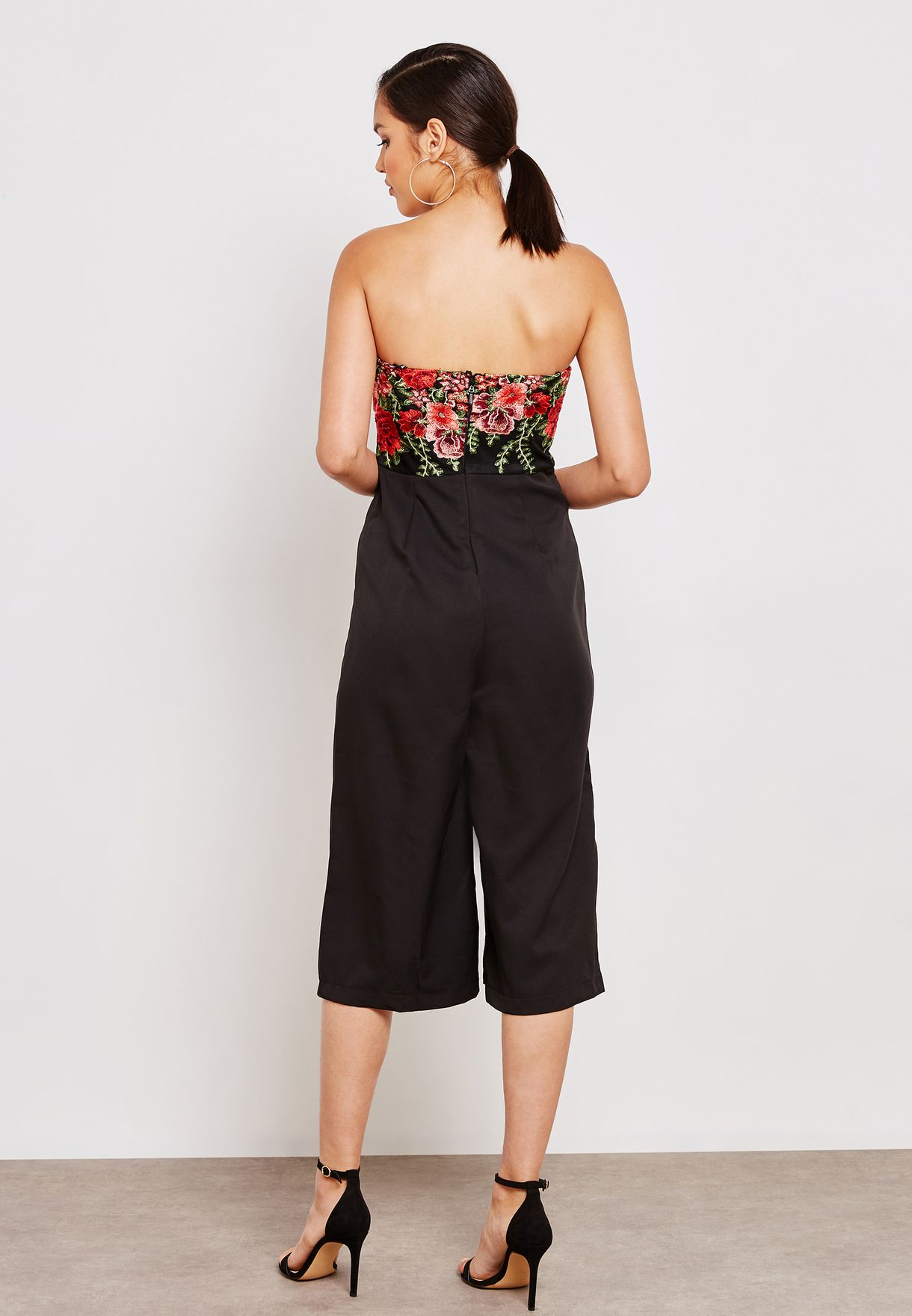 Embroidered Bandeau Jumpsuit