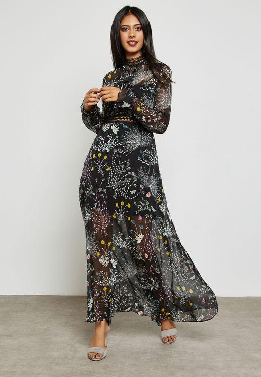 Sheer Detail Printed Maxi Dress