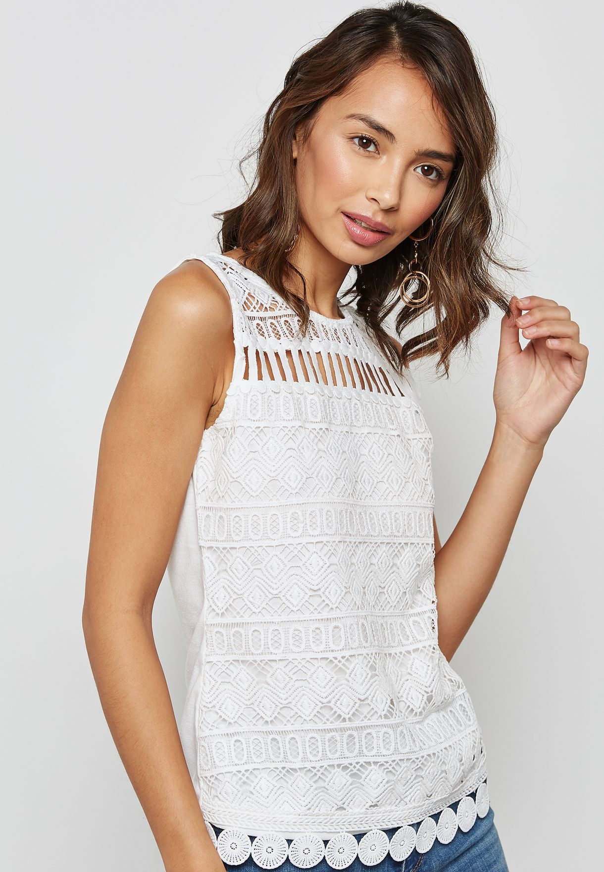 474928ad6def Shop Dorothy Perkins Petite white Aztec Lace Shell Top 79104702 for ...