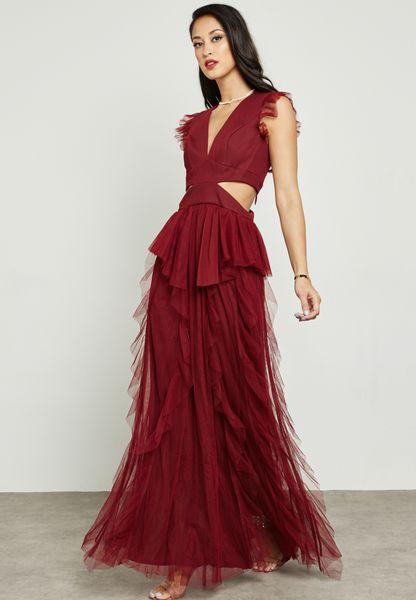 Cut Out Waist Ruffle Net Detail Dress