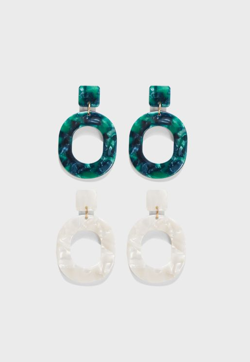 Multipack Square Drop Earrings
