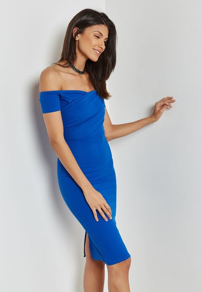 Ruched Bardot Bodycon Dress