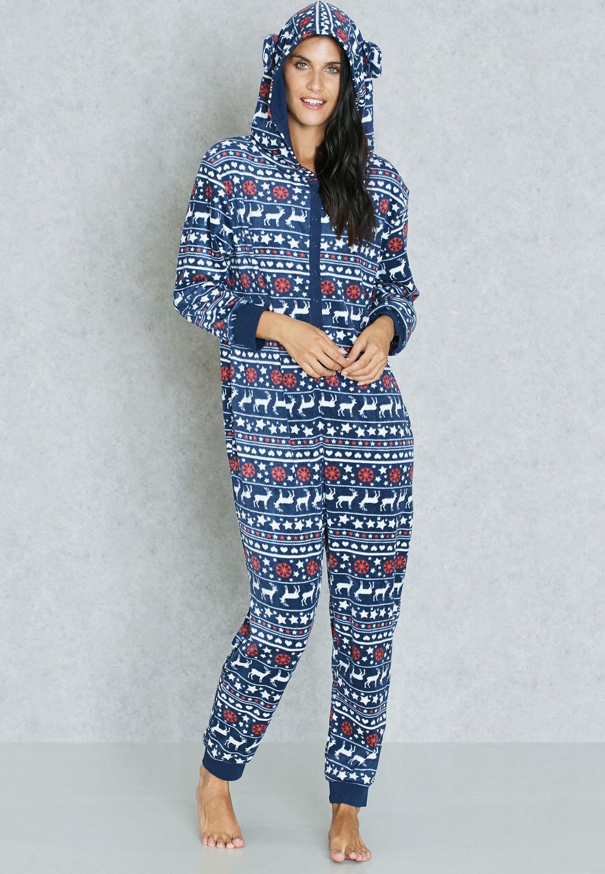 b224ce250b13c Shop Dorothy Perkins Petite navy Fairisle Hooded Onesie for Women in ...