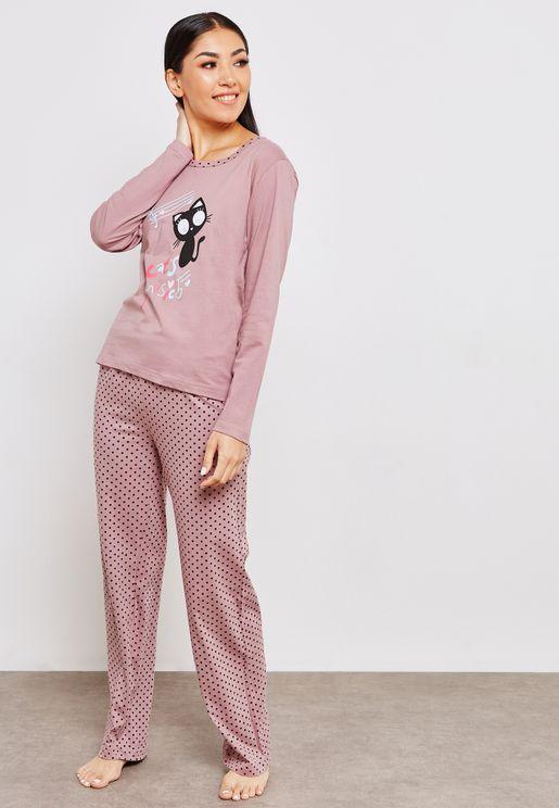 Crew Neck Printed Top Polka Dot Pyjama Set