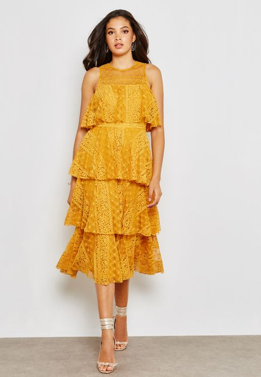 Layered Tiered Lace Midaxi Dress