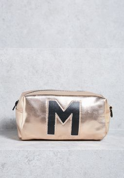 Holographic Intial M Makeup Bag