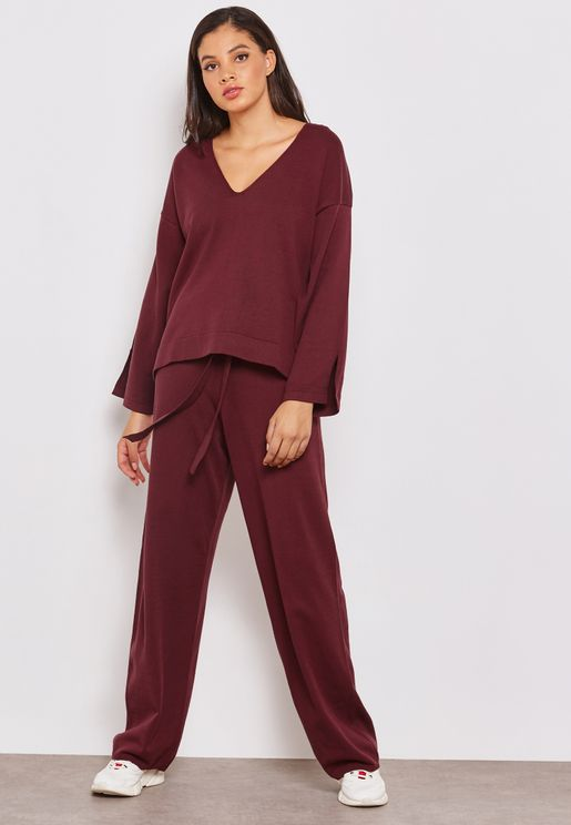 Knitted High Waisted Wide Leg Pants Co-ord
