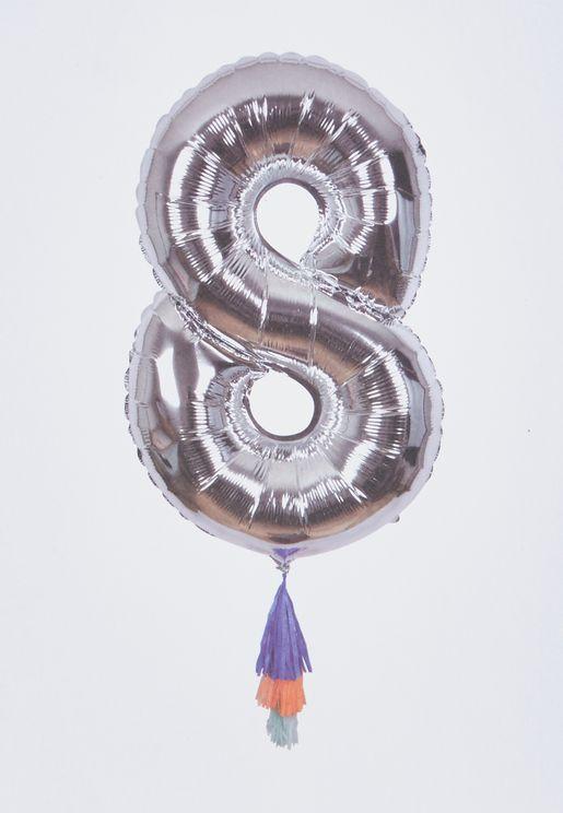 """بالون لامع يحمل رقم """"8"""""""