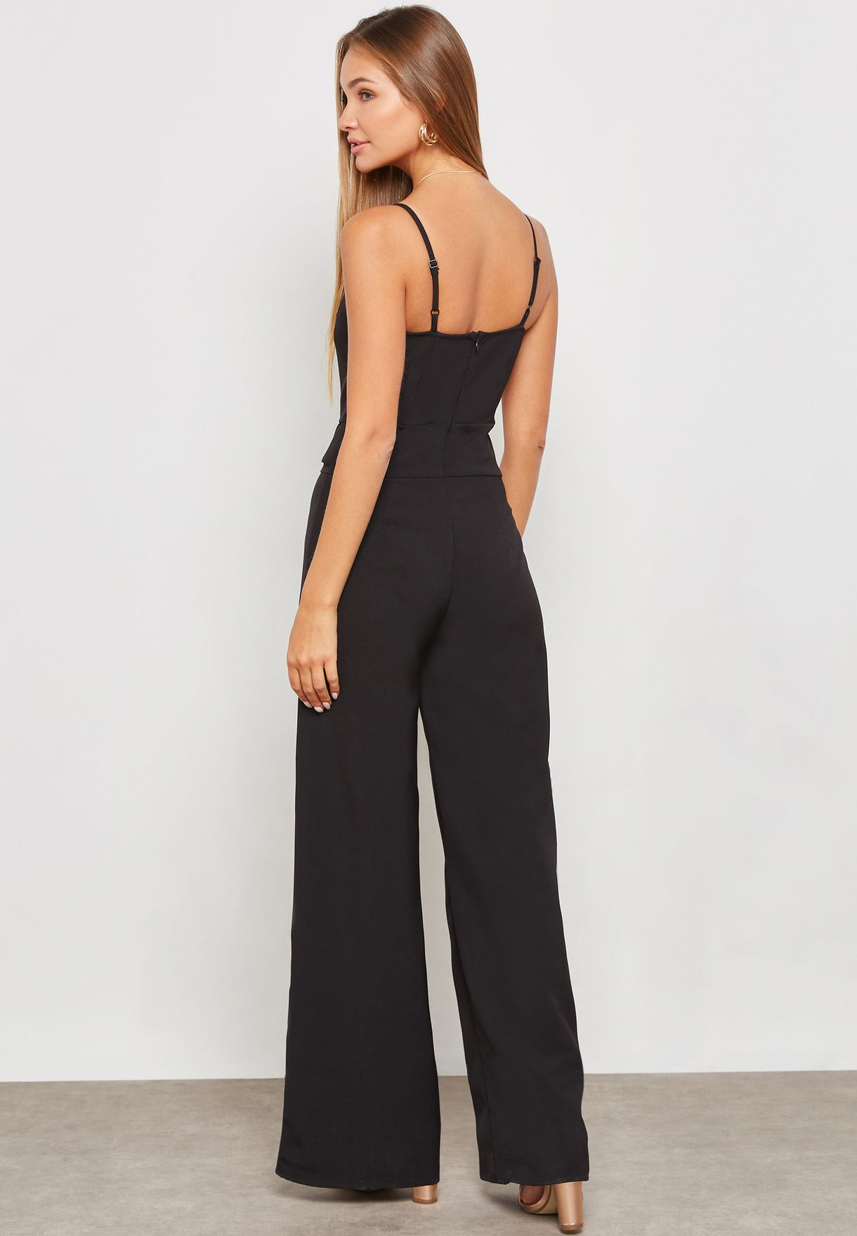 15bcee8b479 Shop 4th   Reckless black Wide Leg Jumpsuit 4REL00172 for Women in ...