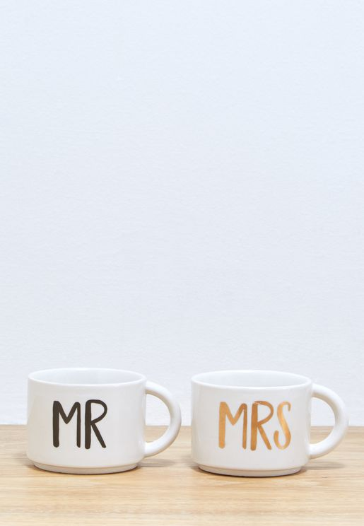 2 Pack Mr & Mrs Stacking Mug