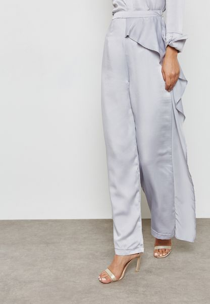 Asymmetric Wide Leg Satin Pants