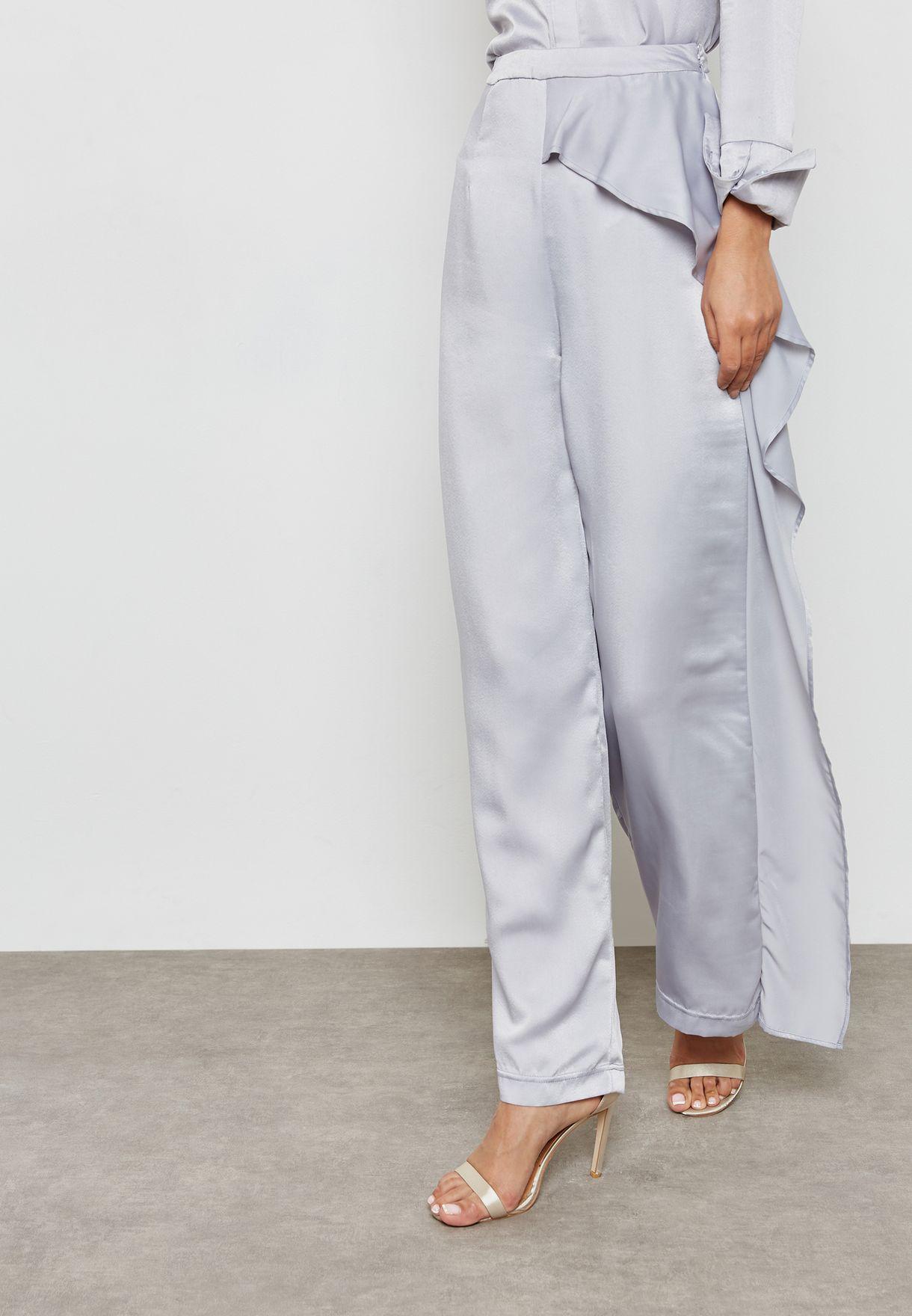 Asymmetric Wide Leg Satin Pants