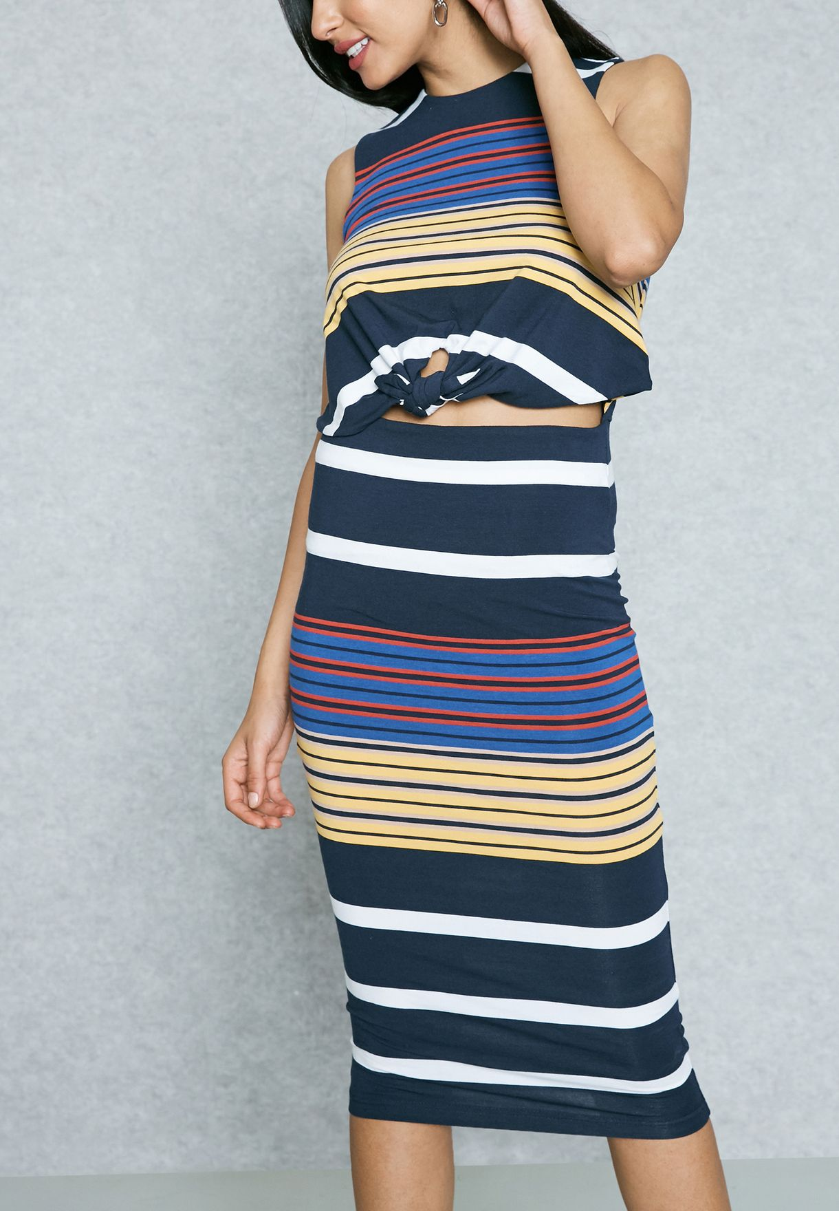 52dced9387ab Shop KENDALL + KYLIE stripes Cut Out Striped Bodycon Dress ...