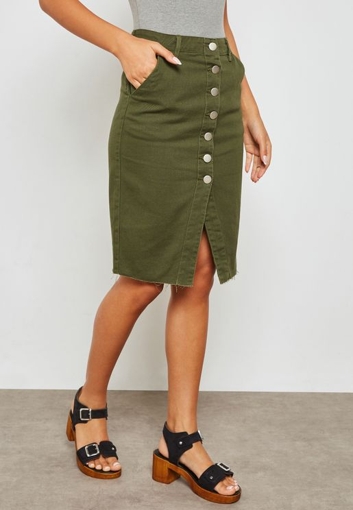 Button Front Cut Out Denim Skirt