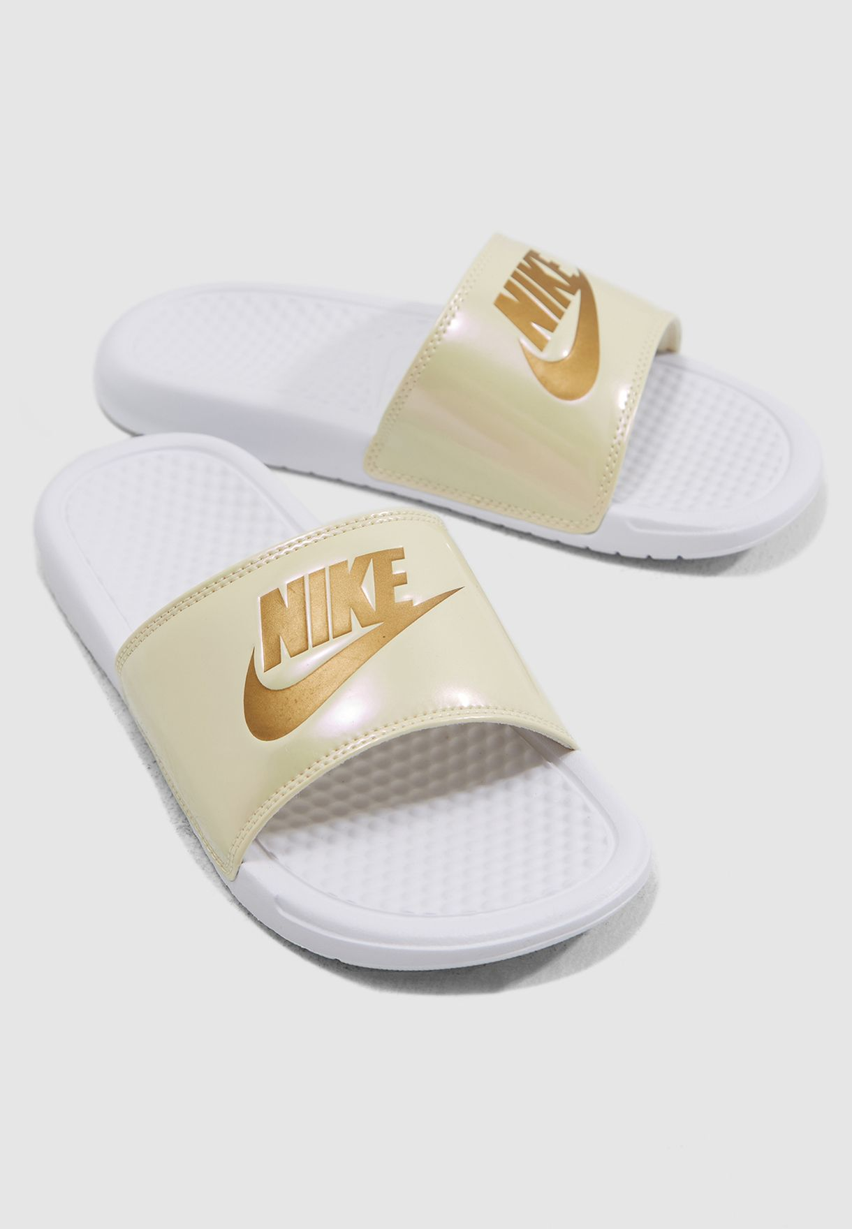 cb2c190962b7 Shop Nike white Benassi JDI Print Slides 618919-112 for Women in UAE ...