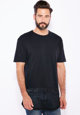 Topman Mesh Long Line T-Shirt