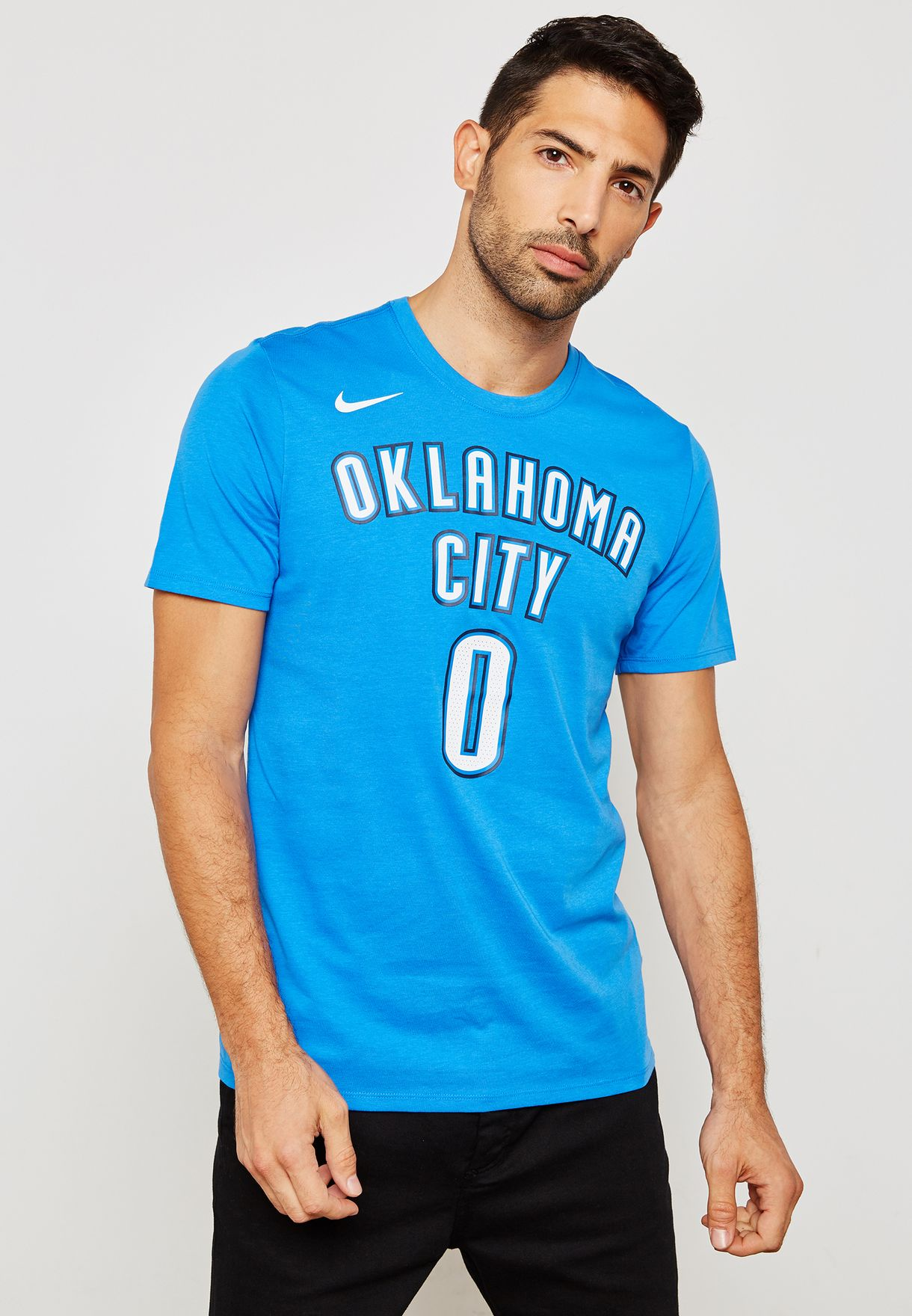 66a56b4a87dc43 Shop Nike blue Oklahoma City Thunder Russell Westbrook T-Shirt 870796-403  for Men in UAE - NI727AT24MAP