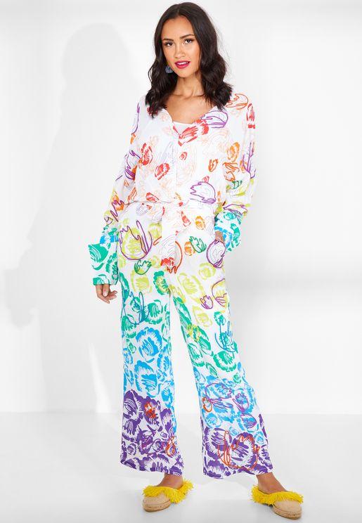 Milia Emroidered Silk Jumpsuit