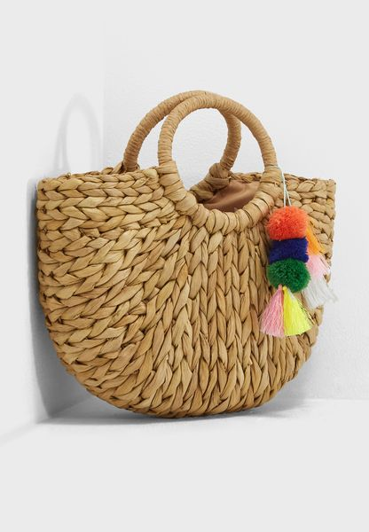 Straw Tassel Bag